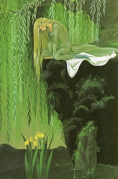 """The Frog Prince"""" Illustration by Janet & Anne Grahame Johnstone. This artwork is from Dean's: A Book of Fairy Tales, 1977 edition. I dreamt, not of a frog prince, but that I was floating on a blanket. Art And Illustration, Alphonse Mucha, Fairy Land, Fairy Tales, Fairytale Art, Fairytale Fantasies, Fantasy Art, Artwork, Frog Princess"""