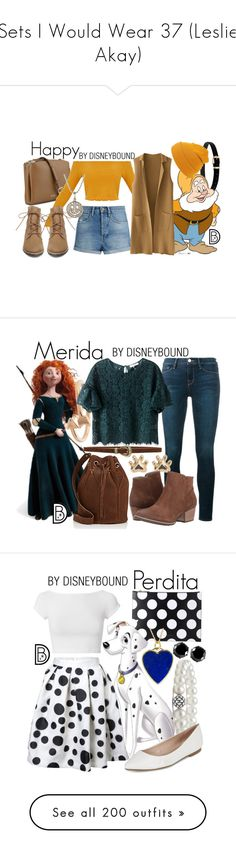 """Sets I Would Wear 37 (Leslie Akay)"" by boredsnake ❤ liked on Polyvore featuring Nine West, Raey, Steve Madden, Sydney Evan, disney, disneybound, disneycharacter, Frame, Merida and Candela"