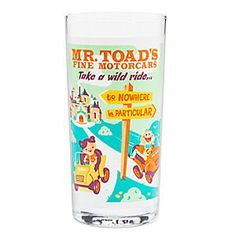 Mr. Toad's Wild Ride Retro Glass Tumbler | Disney Store With Mr. Toad's Fine Motorcars, you'll take a wild ride to nowhere in particular when sipping from this retro-styled glass tumbler direct from Disneyland's WonderGround Gallery.