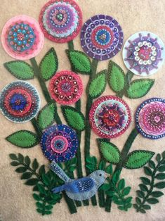 "LYNN: ""Refuge"" is a felt and embroidery framed piece, embellished wit… Wool Applique Quilts, Wool Applique Patterns, Wool Embroidery, Felt Applique, Applique Designs, Embroidery Stitches, Applique Cushions, Hand Applique, Felt Art"
