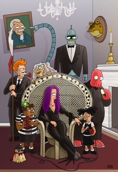 Tagged with futurama, cartoons, addamsfamily, mattgroening, clayyount; Shared by Futurama/Addams Family concept by Clay Yount Die Addams Family, Adams Family, Los Addams, Deco Cinema, Charles Addams, Adult Cartoons, The Simpsons, Belle Photo, Nerdy