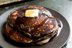 """Buckwheat pancakes - I made these with all buckwheat flour, rice """"buttermilk"""" (mixed w/ lemon juice), and flax gel """"egg"""". Turned out GREAT! Perfect texture, although darker than """"normal"""" pancakes, and definitely with the taste ofbuckwheat. But yummy!"""