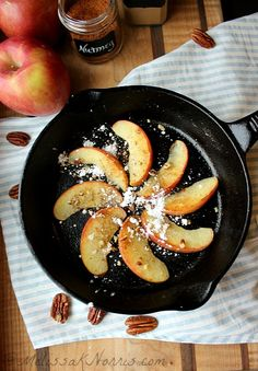Fried Apple Dessert #paleo style, glutenfree, dairy free, but oh so delicious. It's less than $.65 a serving and only takes 8 minutes total! Recipe at http://melissaknorris.com/2014/01/15/fried-apples-healthy-snack-paleo-dessert-recipe/