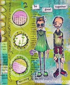 Artwork created by Janet Klein using rubber stamps designed by Daniel Torrente for Stampotique Originals