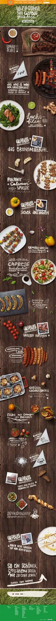 A delicate digital invitation to the richly spread Globus barbecue table with tasty recipes, mouth-watering raffles and funny little tidbits around the Germans favourite summer activity.