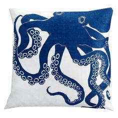 Cool silk screen print octopus on linen pillow