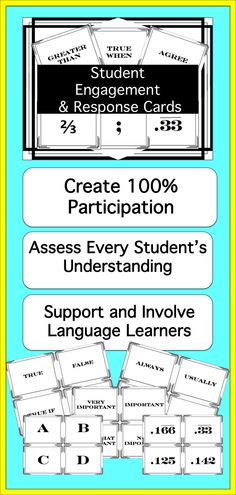 92 Ready-To-Print Student Response Cards for secondary classrooms. Use these to get engagement from every student in the class. Cheaper and easier than white boards with none of the mess or misbehavior. Especially good for science and math classes. $