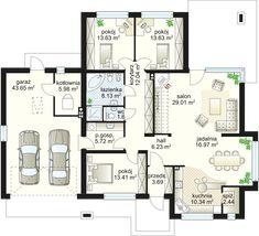 House Plans Mansion, Porch House Plans, Small House Plans, Bungalow House Design, Modern Mansion, European House, Apartment Plans, House Elevation, Home Design Plans