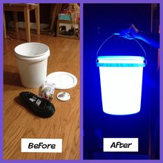 Awesome lights my hubby made out of 5 gal buckets to hang in tress on all our camping trips. Took him less than 15 mins to make and cost less than $15 to make (including extension cord). Easy directions...you get the white buckets (with lids) from Walmart in the paint department. First you cut the female end off of an extension cord and strip it to the wires (there will be three wires, but you only use the black and white wire). The you connect the wires to a standard ceiling light fixture…