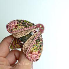 Artist handmade bead brooch moth butterfly Jude by TSminibears