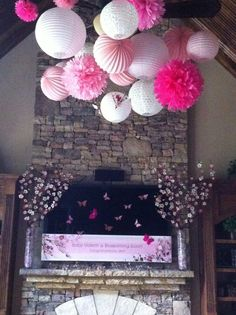 Cherry blossom theme baby shower and pink balloons Baby Girl Shower Themes, Girl Baby Shower Decorations, Girl Themes, Baby Shower Gender Reveal, Baby Boy Shower, Cherry Blossom Party, Cherry Blossoms, Cherry Baby, Baby Sprinkle
