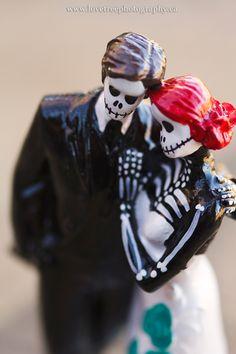 rockabilly wedding cake topper | skeleton bride and groom