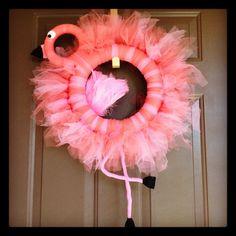 Flamingo Wreath by DoorDecorLondon on Etsy, $55.00