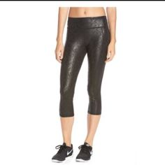 BEAUTIFUL BETSY JOHNSON WORKOUT CAPRI  Beautiful Betsy Johnson workout Capri Yoga Pants‼️ Black glossy rose pattern. Polyester/Spandex. Sold out at all 461 retailers ‼️ Betsey Johnson Pants Capris