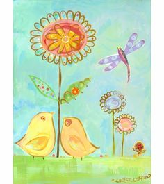 Little Yellow Love Birds Canvas Reproduction