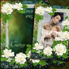 Photo frame - White roses for vintage photo