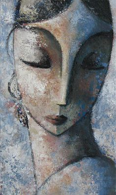 """Rostre"" - Didier Lourenço, oil on canvas, 2010 {art #expressionist female head stylized woman face portrait painting} didierlourenco.net"
