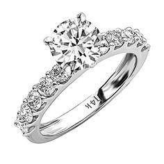 1.9 Carat t.w. GIA Certified Round-Brilliant Cut 14K White Gold Classic Side Stone Prong Set Diamond…