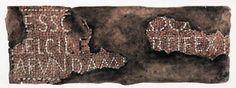 Termas. Inscripción encontrada en el Caldarium, actualmente desaparecida, con el nombre del artesano que elaboró la inscripción el hispano Belcilesus. Acuarela de P- Quintero, de 1913. Imagen capturada de la página web del Campo Arqueológico.
