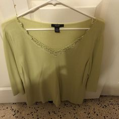 Alfani green beaded top Worn 2-3 times. Size 1x. In great condition. Alfani Tops