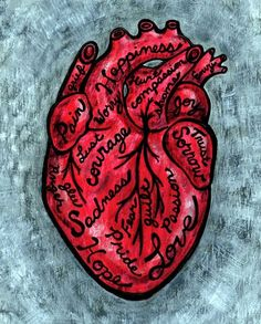 Red Anatomical Heart Reproduction typography Art Print - 8x10 - What's in Your Heart. $16.00, via Etsy.