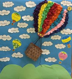 Up up and stepping up we go! (Hot air balloon graduation school door… Up up and stepping up we go! Classroom Board, School Bulletin Boards, Classroom Displays, Classroom Themes, Hot Air Balloon Classroom Theme, Preschool Crafts, Crafts For Kids, Preschool Ideas, Diy Crafts