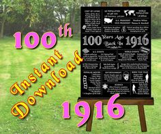 1916 - 100th Birthday Chalkboard Gift Poster, 100th Anniversary, 100 Years Ago, Instant Download, Printable Digital files (Item #108.5d)