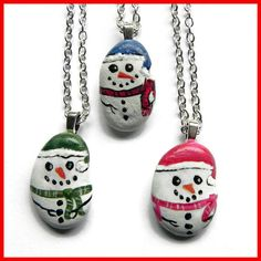 "SNOWMAN Hand Painted STONE Rock Pendant Silver  18"" Rolo Chain by Artbycarriepaquette on Etsy https://www.etsy.com/listing/258697594/snowman-hand-painted-stone-rock-pendant"
