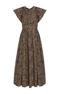 This **Ulla Johnson** Lottie poplin dress features a pleated bodice and ruffled cap sleeve.