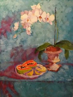 Exotic Dancer Orchids with Mango & Papaya, painting by artist Roxanne Steed Dining Corner, Still Life Oil Painting, Marriage Advice, Orchids, Paint Colors, Color Schemes, Exotic, Mango, Dancer