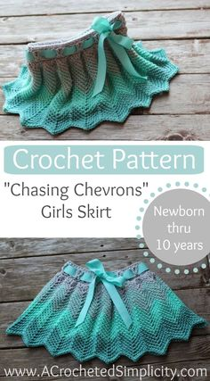 "Crochet Pattern - ""Chasing Chevrons"" Skirt by A Crocheted Simplicity - Sizes Newborn thru 10 years! Also includes custom sizing instructions!"