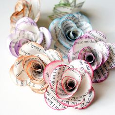 12 Handmade Paper ROSES from REPURPOSED BOOK by PapersAndPetals, $11.25