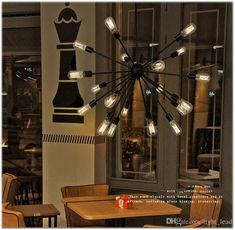 Pendant Lighting Iron American Village Restaurant Industry Chandelier Light With 12 16 18 20 Heads Satellite Droplight For Restaurant Screw In Pendant Light, Round Pendant Light, American Village, Crystal Design, Chandelier Lighting, Cool Designs, Restaurant, Ceiling Lights, Glass