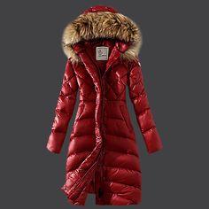 ff1c8506e3c6 Women Winter Fur Duck Down Coat Hooded Jacket Slim Long Parka Outwear