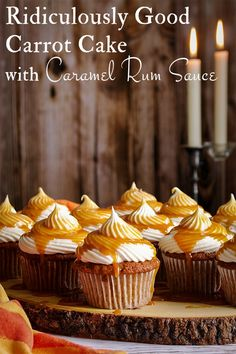 This ridiculously good Carrot Cake with Caramel Rum Sauce is my all-time favorite recipe, having been tested and perfected over decades. Carrot Cake Cupcakes, Baking Cupcakes, Cupcake Recipes, Baking Recipes, Cupcake Cakes, Fancy Cupcakes, Cupcake Flavors, Homemade Carrot Cake, Best Carrot Cake