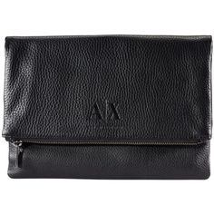 Armani Exchange Fold Over Clutch (9.895 HUF) ❤ liked on Polyvore featuring bags, handbags, clutches, purses, black, real leather handbags, handbag purse, fold over purse, man bag and leather hand bags