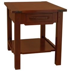 """This beautiful end Table - w/ Drawer is a hallmark of the Greene & Greene contributions to the Mission and Arts & Crafts movement. Every surface is smoothed and rounded, gentle to the touch and without sharp corners or edges.   This is an elegant piece with so much character and detail that it will stand out as part of your living room. Constructed by highly skilled Amish craftsmen in the heartland of America; this will make a welcomed addition to your home.   A """"Bread-Board"""" top is…"""