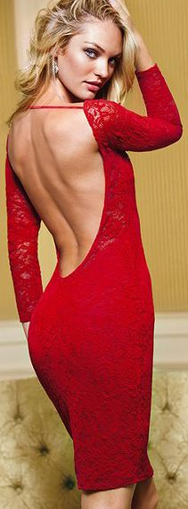 Victoria's Secret Open Back Lace Dress in Red