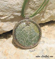 Byzantium Mosaic. Green Jasper Beaded Cabochon Pendant by Lirigal - Etsy