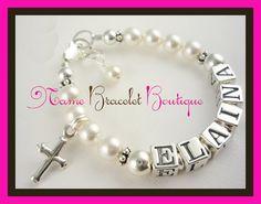 Baptism Bracelet Baby Girl Bracelet Name Sterling by NameBracelets, $43.50