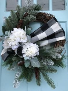 Black and White buffalo Plaid Ribbon with Pine on Grapevine Winter Wreath for Front Door. wreaths for front door, farmhouse, Christmas, - Black and White buffalo Plaid Ribbon with Pine on Grapevine Winter Wreath for Front Door. wreaths f - Christmas Front Doors, Christmas Wreaths To Make, Holiday Wreaths, Christmas Crafts, Christmas Decorations, Holiday Decor, Winter Wreaths, Christmas Christmas, Farmhouse Christmas Trees