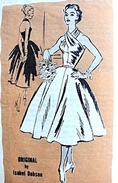 1950s Dramatic Cocktail Evening Dress Pattern Prominent Designer 593 Isabel Dobson Seductive Crossed Halter Neckline Full Flattering Skirt  Bust 32 Vintage Sewing Pattern