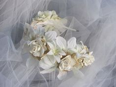 White Rose Lace and Pearl Bridal Headband / by faeriewickets
