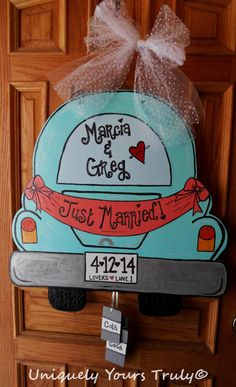 Just Married Door Hanger by UniquelyYoursTruly on Etsy, $35.00