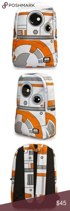 "Star Wars BB8 Backpack New Star Wars BB8 backpack by Loungefly and Disney licensed. PRINTED NYLON BACKPACK WITH INTERIOR LAPTOP POCKET AND REINFORCED SHOULDER STRAPS. MEASUREMENTS: W: 11.5"" X H: 17.5"" X D: 5"". Authentic Star Wars merchandise. Star Wars Bags Backpacks"