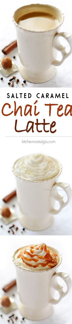 Chai Tea Latte - with salted caramel sauce will warm you on a frosty winter day - kitchennostalgia.com