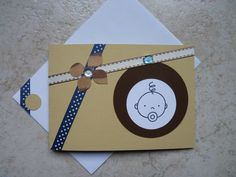 Carte double en papier Artoz épais, pour féliciter de l'arrivée d'un bout de chou!