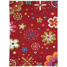 Have to have it. Dynamic Rugs Fantasia Flower Power 1705 Kids Area Rug - Bright Red $129.99