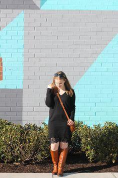 The Sweater Dress | Something Good, @danaerinw, joe fresh sweater dress, v neck black sweater dress, lace bottom dress, coach bag, crossbody bag, sam edelman penny riding boots, cognac riding boots, women, fashion, clothing, style, clothes, fall fashion, women's fashion