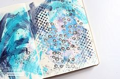 Then add some painted lines across the journaling background to complete your underwater wonderland in shades of blue and purple. Shades Of Blue, Book Design, Happy Life, Underwater, Planners, Journals, Wonderland, Bullet Journal, Stamp